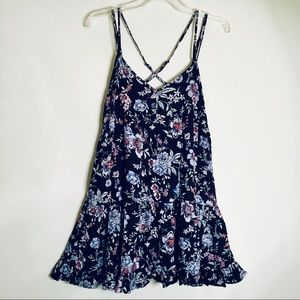 American Eagle Black Floral Strappy Sundress SMALL